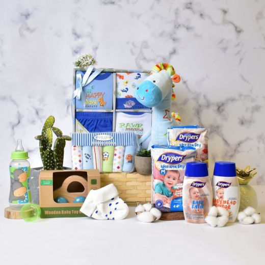 Bouncing Baby Boy Gift Hamper in Bamboo