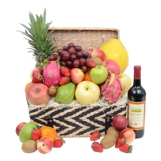 Deluxe Fruit Hamper with Corporate Wine