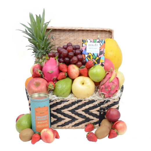 Deluxe Fruit Hamper with Gourmet Treats