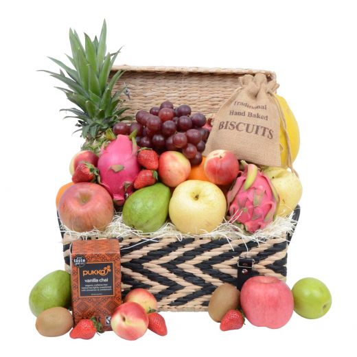 Deluxe Fruit Hamper with Tea & Treats