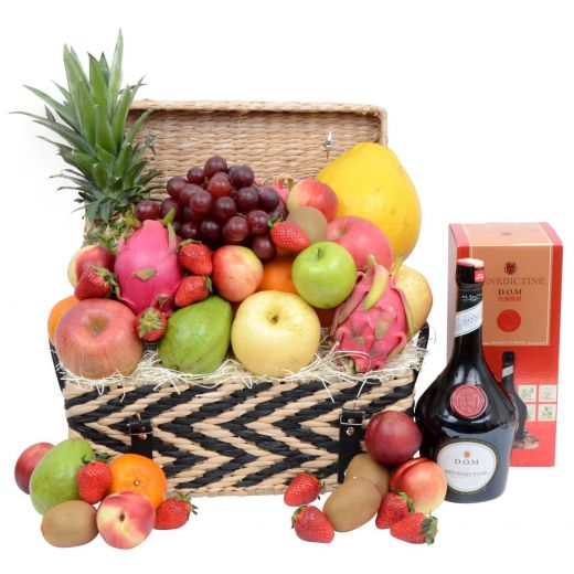 Deluxe Fruit Hamper with Tonic Wine