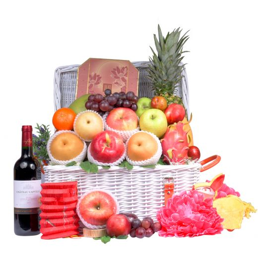 Classic Mid-Autumn Fruit Hamper With Peninsula Mooncake & Wine