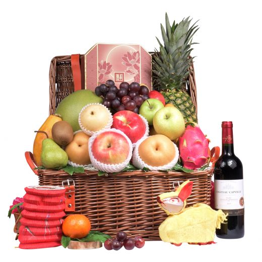 Classic Mid Autumn Fruit Hamper With Peninsula Mooncake & Wine