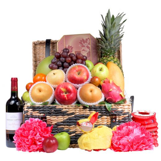 Festive Fruit Hamper With Peninsula Mooncake & Wine Or Champagne