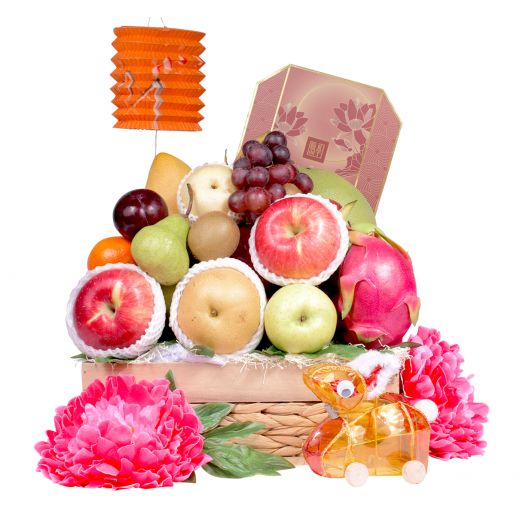 Delightful Fruit Hamper With Peninsula Mooncake