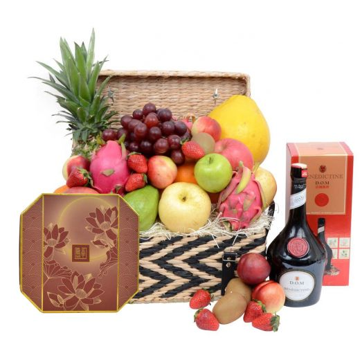 Festive Fruit Hamper With Peninsula Mooncake & Tonic Wine Or Benedictine D.O.M
