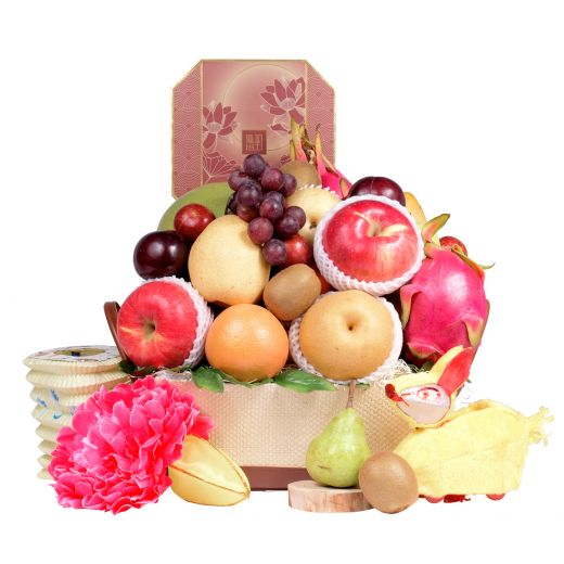 Traditional Fruit Basket with Peninsula Mooncake